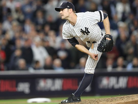 Yankees reliever David Robertson throws in the sixth