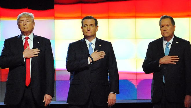 Republican presidential candidates Donald Trump, Ted Cruz and John Kasich during a recent debate at the University of Miami.