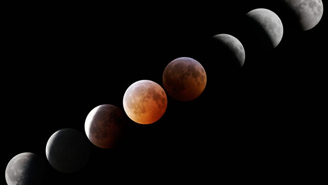 A montage of photos from a total lunar eclipse that occurred on Dec. 21, 2010.