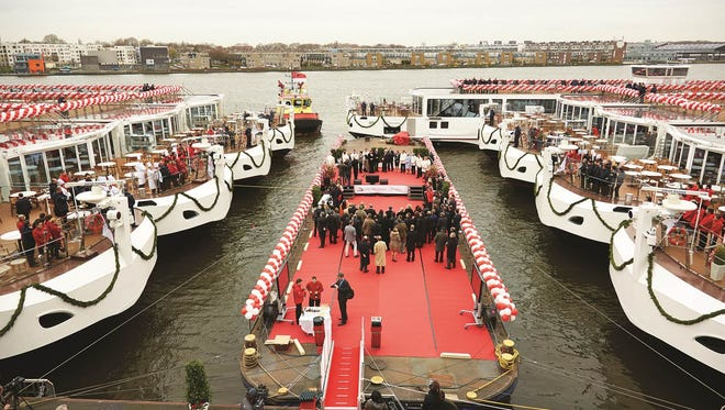 Viking River Cruises christened nine ships at once on March 17, 2014 at a ceremony along the Amsterdam waterfront.