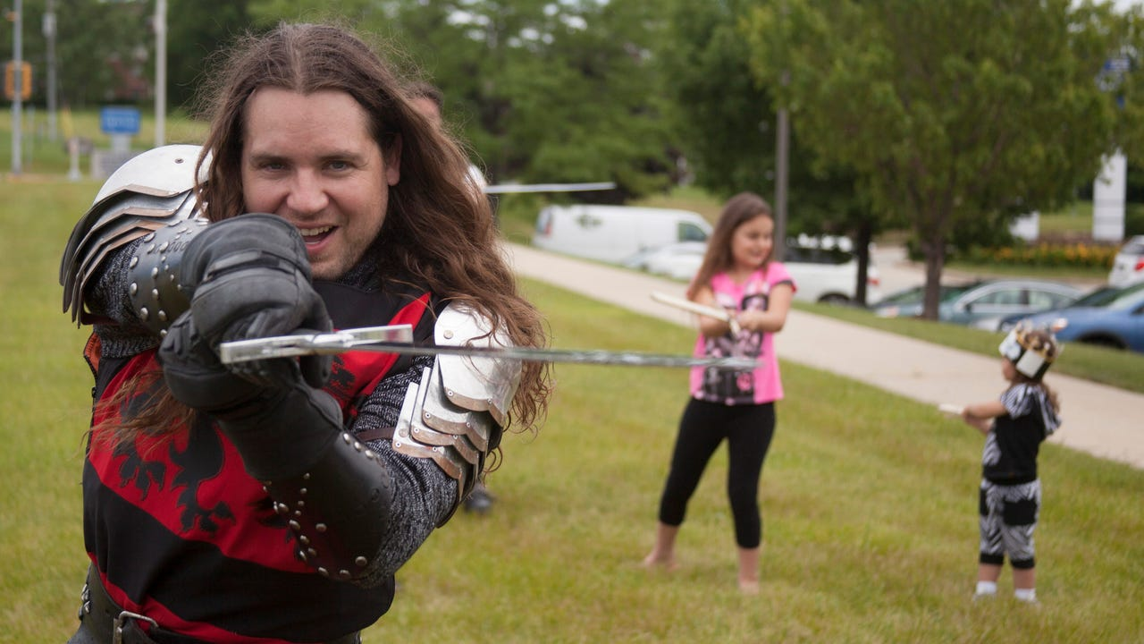As part of the Chivalry in Action Goodwill Tour, knights from the Medieval Times Dinner & Tournament came to the Goodwill store and donation center in Waukesha to show off their skills.