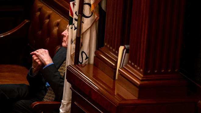 Illinois Speaker of the House Michael Madigan, D-Chicago, listens to debate on the fiscal year 2020 budget on the floor of the Illinois House late into the evening on the scheduled last day of the spring session on May 31, 2019, in Springfield.