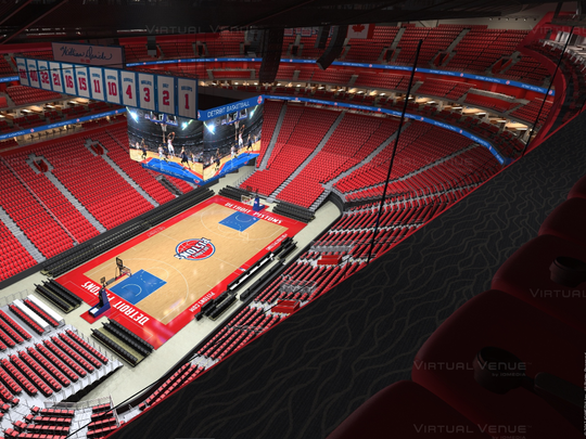 "A rendering of Little Caesars Arena during Detroit Pistons game days from the special ""gondola"" seating suspended above the upper bowl."