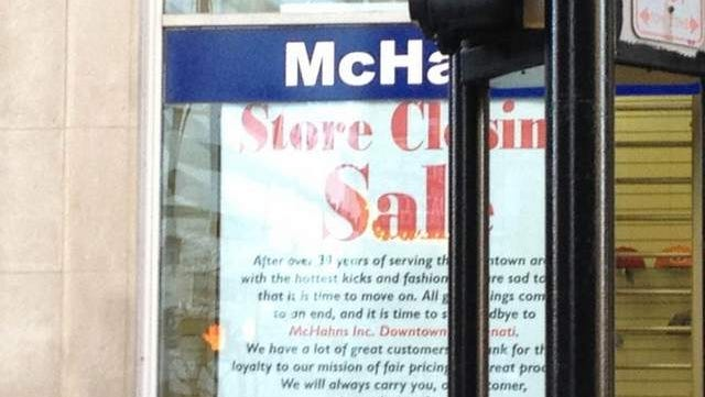 Downtown retailer McHahns on Race Street is closing its doors after operating on the same block for more than 30 years.
