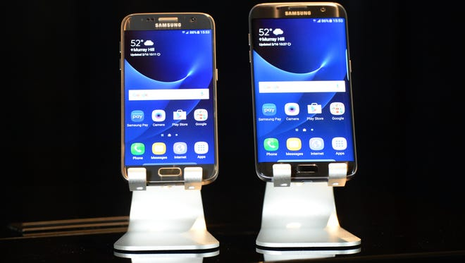 The Samsung Galaxy s7 and s7 edge  Samsung's new flagship smartphones announced at Mobile World Congress in Barcelona.