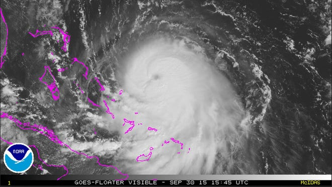 A handout satellite image made available by the NOAA/US National Hurricane Center on Sept. 30, showing Hurricane Joaquin. According to the US National Weather Service, Joaquin has strengthened into a hurricane and while there is still much uncertainty in its path, people along the U.S. East Coast should monitor the National Hurricane Center and local NWS forecast offices, as well as local media, for the latest updates and be sure to have a plan in place should Joaquin threaten their area.