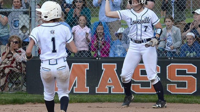 Louisville's Sydney McKeever score the only run in the Leopards' Division I district final win over Lake at Massillon, May 15, 2019.