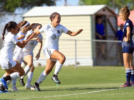 Flour Bluff's Olivia Cerna celebrates after scoring