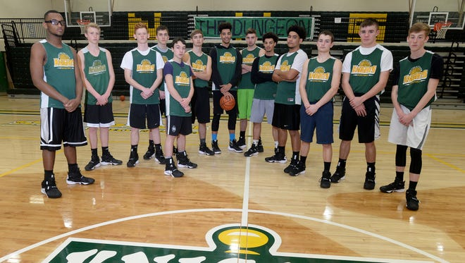 Northeastern High School basketball players Tuesday, March 8, 2016 in Fountain City.