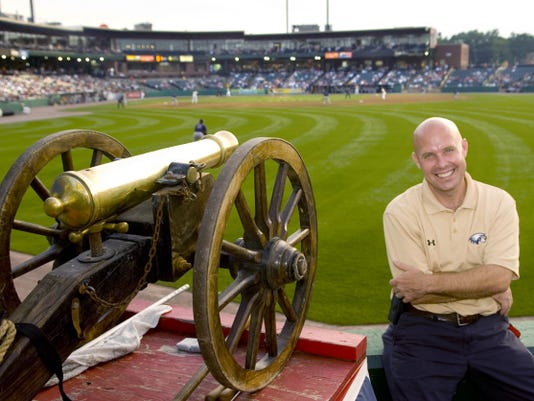 Matt O'Brien, the first general manager in York Revolution franchise history, poses in 2010 next to the home run cannon, one of the creations of O'Brien and his staff. O'Brien built a reputation as a franchise builder during a 20-year minor league baseball career, but he has been with the Cleveland Cavaliers front office since 2013.
