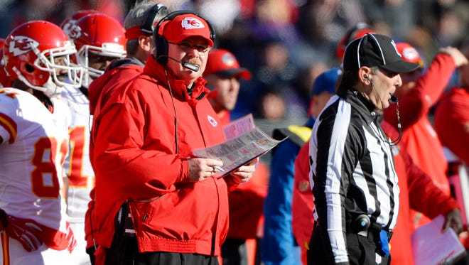 Dec 20, 2015: Kansas City Chiefs head coach Andy Reid (L) looks onto the field during the second quarter against the Baltimore Ravens at M&T Bank Stadium.