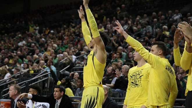 Dec 30, 2016; Eugene, OR, USA; Oregon Ducks forward Dillon Brooks (24) cheers his team from the sideline in the second half against the USC Trojans at Matthew Knight Arena. Mandatory Credit: Scott Olmos-USA TODAY Sports