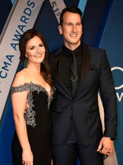 Russell Dickerson on the red carpet at Music City Center