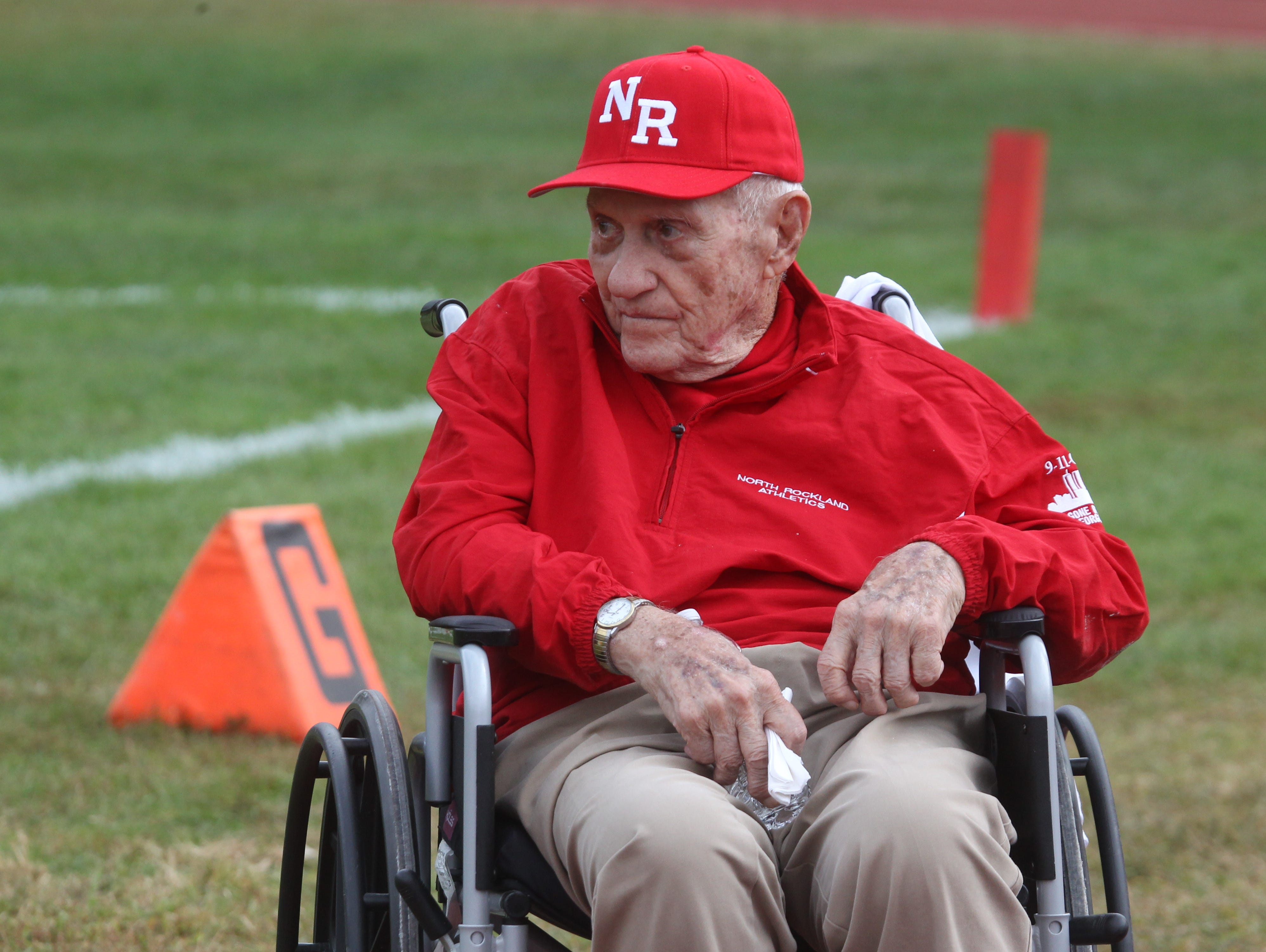 Former North Rockland football coach Ralph Cordisco during a 2014 ceremony at Cordisco Stadium at North Rockland High School.