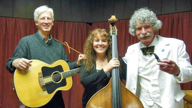 "Tim Gorelangton, left, and Julie Machado of Shiloh and Mark Twain impersonator McAvoy Layne will perform ""Home Means Nevada,"" a humorous story of Nevada history at historic Piper's Opera House in Virginia City on Saturday night."