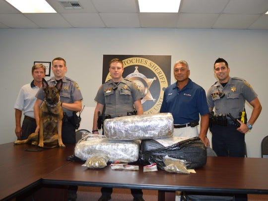 Sixty pounds of marijuana headed to Rapides Parish was confiscated Monday after a traffic stop on Interstate 49 in Natchitoches, according to a release.