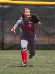 Bear River outfielder Brenna Hinck moves under a Stansbury fly ball Saturday, May 16, 2015.