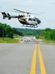 An air ambulance takes off after a mock vehicle accident May 15, 2015.