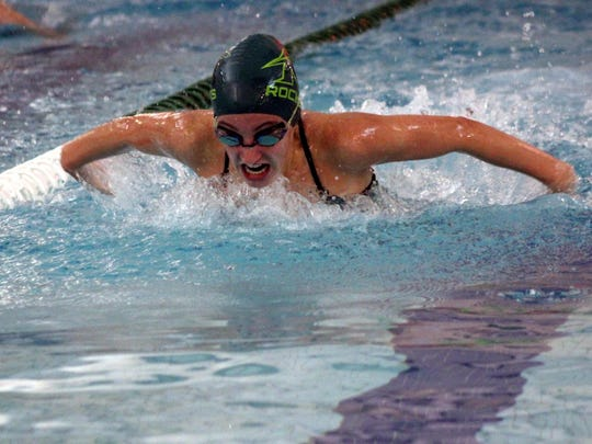 James Buchanan's Sarah Kimmel swims the butterfly against