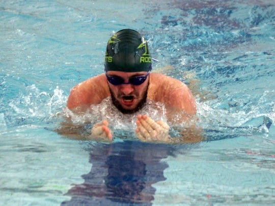 James Buchanan's Noah Shank swims the breaststroke against Shippensburg in a Mid Penn Colonial Division meet. Shippensburg swept the Rockets 101-51 (boys) and 94-75 (girls).