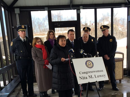 From left: Rockland County Police Chief William Barbera, assistant to the chair of the Rockland County Legislature Darcy Casteleiro, parent Sarah McTasney, Rep. Nita Lowey, Clarkstown Supervisor Alex Gromack, Rockland County Undersheriff Robert Van Cura (front), Clarkstown Police Capt. Anthony Ovchinnikof (back), Clarkstown Police Chief Michael Sullivan.