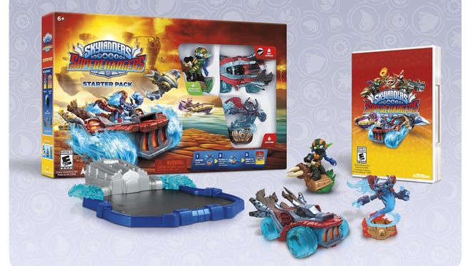 A picture of the Starter Pack for the upcoming video game 'Skylanders SuperChargers.'