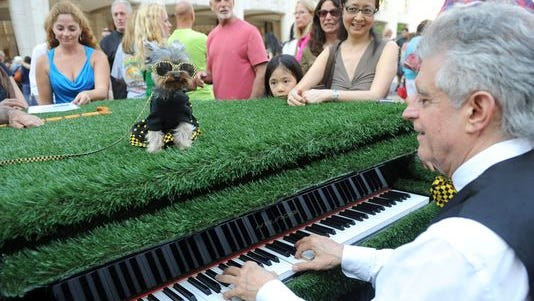 This musician (with his dog) took part in a two- week public art project in New York in 2013.