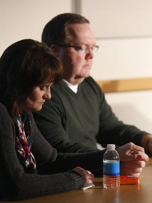 Dan and Wanda Lienemann of Waukee speak about the suicide of their son Drew at Mercy Medical Center in Des Moines, Wednesday, Jan. 13, 2016. Drew Lienemann was a four sport high school athlete whose organs were donated for research after the teen committed suicide.