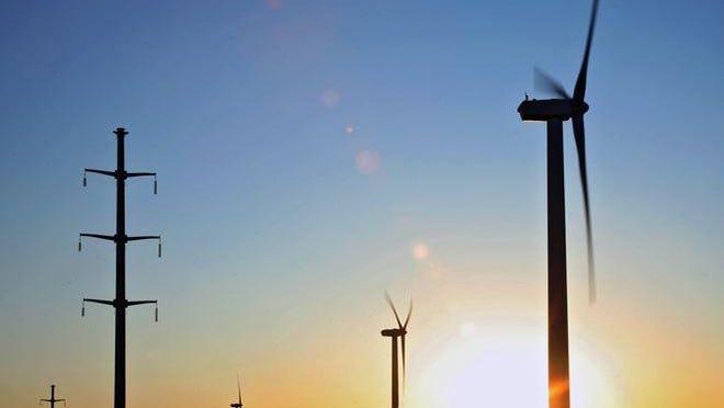 Transmission line next to wind turbines