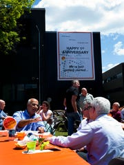 GlobalFoundries employees enjoy a barbecue style party