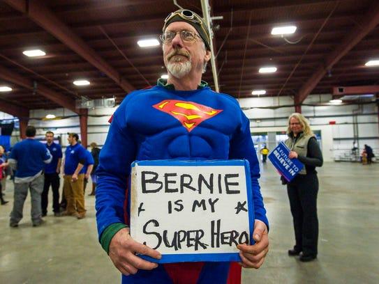 Randy Leavitt at a rally for Bernie Sanders in Essex