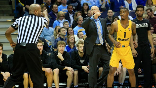 Xavier head coach Chris Mack is charged with a technical foul in the first half.