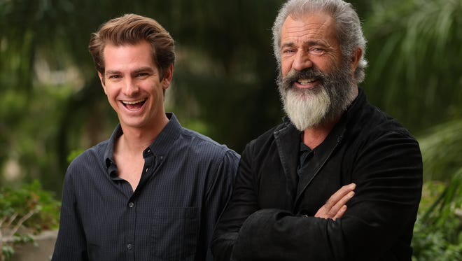 'Hacksaw Ridge' actor Andrew Garfield and director Mel Gibson, photographed Oct. 23, 2016, at the Four Seasons in Los Angeles.