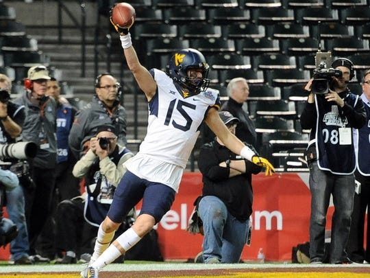David Sills celebrates a touchdown against Arizona State during the Cactus Bowl last January.