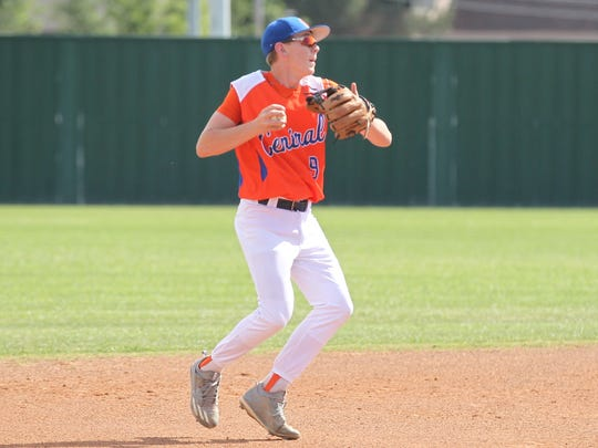 San Angelo Central High School shortstop Cole Nelson gets ready to make a throw to first base in the Bobcats' 12-3 win against Killeen Shoemaker in a District 8-6A baseball game at Nathan Donsky Field on Tuesday, April 24, 2018. The Bobcats will look for a series sweep Friday in Killeen. They've already clinched a playoff berth.