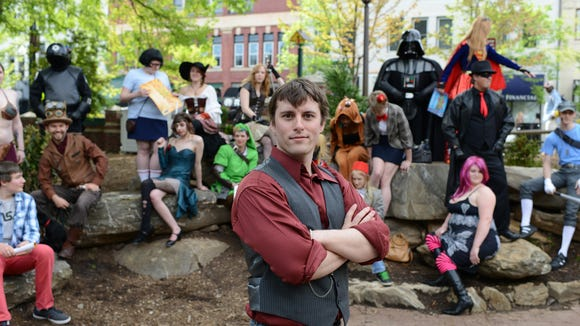 Ken Krahl is the convention director for GeekOut.  Fans and participants with GeekOut dress in costumes. Western North Carolina's annual popular arts convention is a celebration of film, art, costuming, comics and animation.