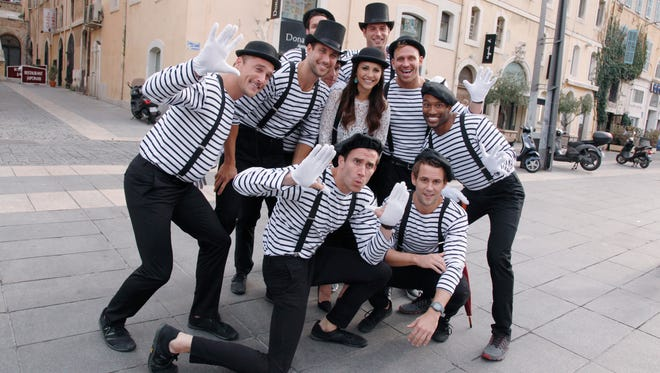 """No talking aloud"" is the rule of the day when Andi takes nine men to a professional mime for him to coach them on his silent art. Shown here: Chris, Andrew, Marcus, Dylan, Andi, JJ, Patrick, Cody, Nick and Marquel."