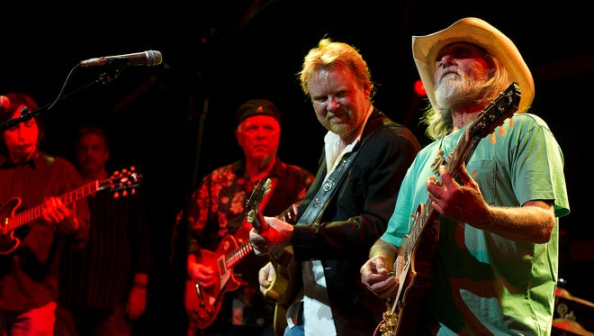 Southern rock legend Dickey Betts jams with Lee Roy Parnell at an event to introduce the Southern Rock Tribute 1959 Les Paul at 12th and Porter on Monday in Nashville.