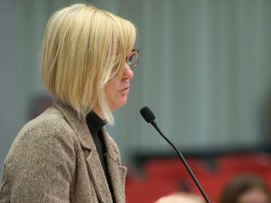 Beth Cooper speaks to the Knox County School Board during a work session Sept. 11, 2017, regarding the proposal to change the school system's harassment policy by removing language explicitly protecting gay, lesbian and transgender employees.