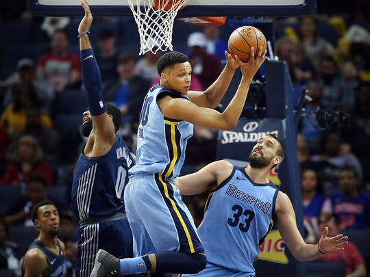 Memphis Grizzlies forward Ivan Rabb (10) picks up a