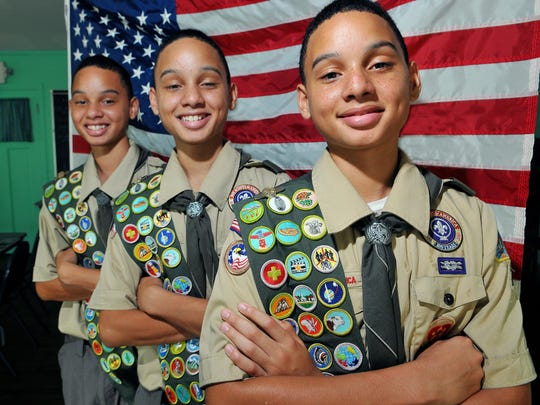 Triplets Malek Belizaire, Kaleb Belizaire and Zalen Belizaire, 14, of Melbourne remodeled the Girl Scout House in Melbourne. They're receiving their Eagle Scout awards this weekend.