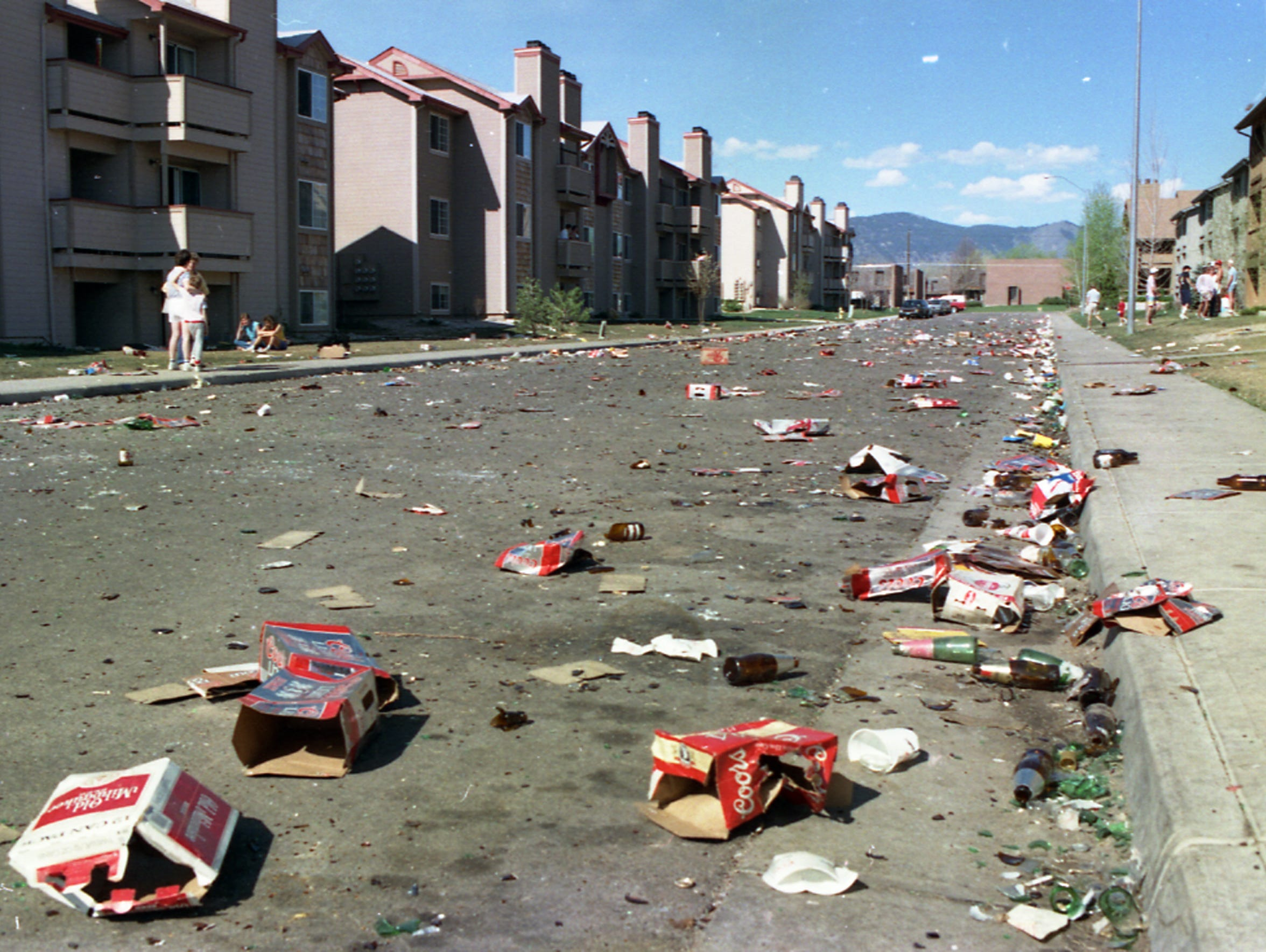The aftermath of riots at the 1987 College Days. Partiers