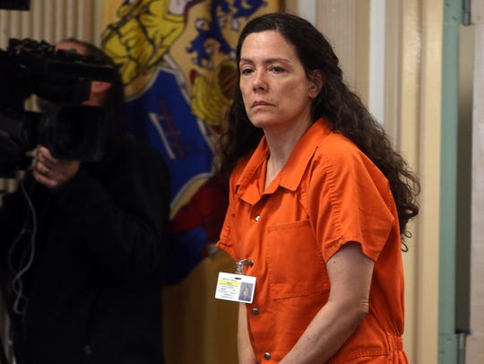 Virginia Vertetis walks into the courtroom before she