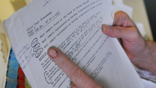 Gary Bennett, has served nearly 34 years of a life sentence for the murder of Helen Nardi in 1983, looks over old case files and diagrams of the mobile home from his trial. He is presently being held at the Northwest. Reception Center in Chipley Fl. Gary has always said he was innocent of the charges.