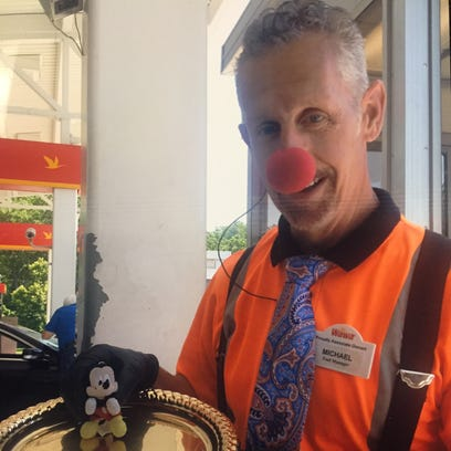 Michael Cuzzo, 57, of Brick, wearing his clown nose