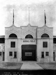 Bosse Field opened in 1915. The front entrance was a white facade until a 1930 renovation that added brick.