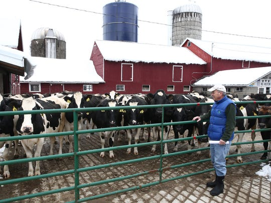 Jerry Simonetty of Hudson Valley Fresh at Shenandoah Farm in East Fishkill on March 9, 2018. Falling dairy prices have had a negative impact on diary farming in Dutchess County.