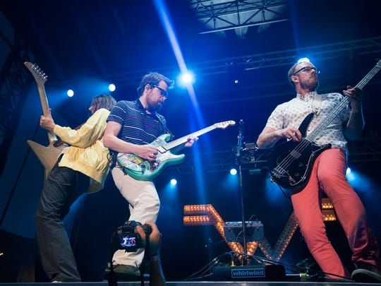 Weezer performs Saturday, July 11, 2015 at the 80/35 music festival in downtown Des Moines.