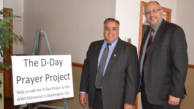 Ohio Christian Alliance Executive Director Chris Long, left, with Pastor Gary Click, who invited Long to give a presentation on the D-Day Prayer project at Fremont Baptist Temple.