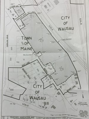 A map of recently petitioned annexations from Maine to Wausau.